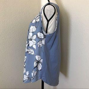 Ann Taylor Tops - Ann Taylor Sleeveless Floral Dusty Blue Blouse